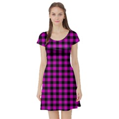 Lumberjack Fabric Pattern Pink Black Short Sleeve Skater Dress by EDDArt