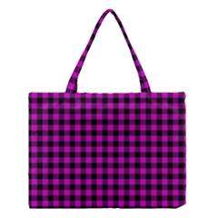 Lumberjack Fabric Pattern Pink Black Medium Tote Bag by EDDArt