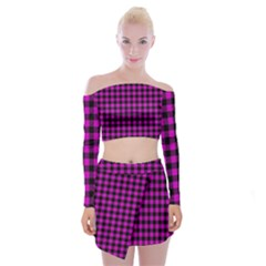 Lumberjack Fabric Pattern Pink Black Off Shoulder Top With Skirt Set by EDDArt