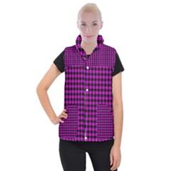 Lumberjack Fabric Pattern Pink Black Women s Button Up Puffer Vest by EDDArt