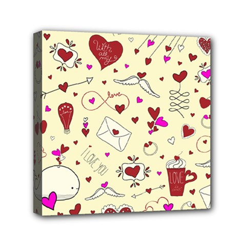 Valentinstag Love Hearts Pattern Red Yellow Mini Canvas 6  X 6  by EDDArt