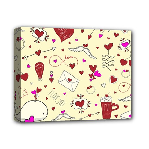 Valentinstag Love Hearts Pattern Red Yellow Deluxe Canvas 14  X 11  by EDDArt