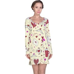 Valentinstag Love Hearts Pattern Red Yellow Long Sleeve Nightdress by EDDArt