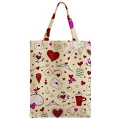Valentinstag Love Hearts Pattern Red Yellow Zipper Classic Tote Bag by EDDArt