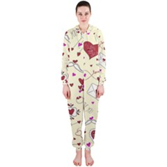 Valentinstag Love Hearts Pattern Red Yellow Hooded Jumpsuit (ladies)  by EDDArt