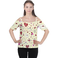 Valentinstag Love Hearts Pattern Red Yellow Women s Cutout Shoulder Tee by EDDArt
