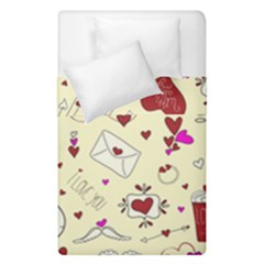 Valentinstag Love Hearts Pattern Red Yellow Duvet Cover Double Side (single Size) by EDDArt