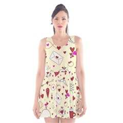 Valentinstag Love Hearts Pattern Red Yellow Scoop Neck Skater Dress by EDDArt