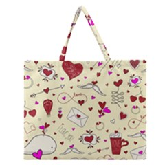 Valentinstag Love Hearts Pattern Red Yellow Zipper Large Tote Bag by EDDArt