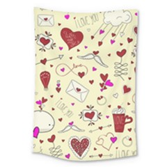 Valentinstag Love Hearts Pattern Red Yellow Large Tapestry by EDDArt
