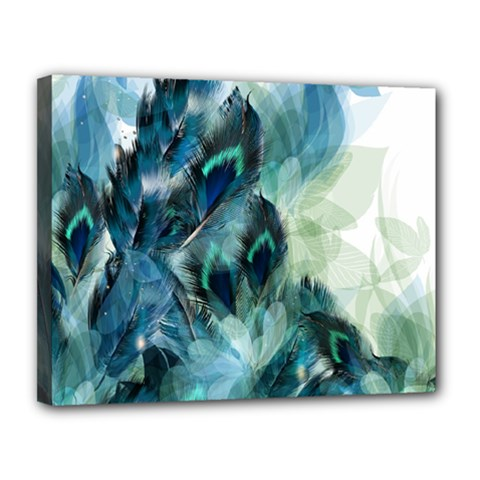 Flowers And Feathers Background Design Canvas 14  X 11  by TastefulDesigns