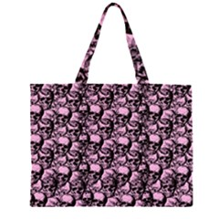 Skulls Pattern  Zipper Large Tote Bag by Valentinaart