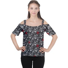 Skulls and roses pattern  Women s Cutout Shoulder Tee by Valentinaart