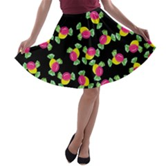 Candy Pattern A Line Skater Skirt by Valentinaart