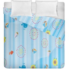 Animals Whale Sunflower Ship Flower Floral Sea Beach Blue Fish Duvet Cover Double Side (king Size) by Mariart