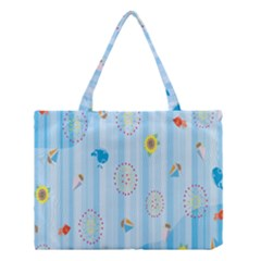 Animals Whale Sunflower Ship Flower Floral Sea Beach Blue Fish Medium Tote Bag by Mariart
