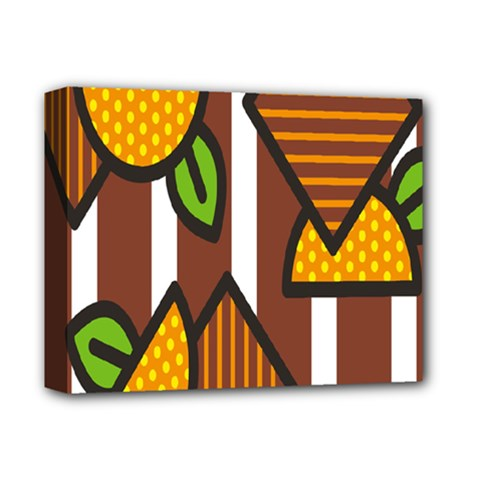 Chocolate Lime Brown Circle Line Plaid Polka Dot Orange Green White Deluxe Canvas 14  X 11  by Mariart