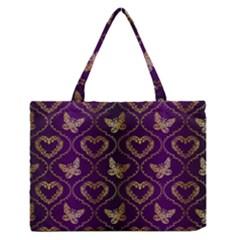 Flower Butterfly Gold Purple Heart Love Medium Zipper Tote Bag by Mariart