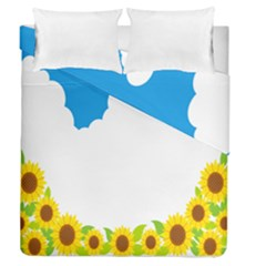 Cloud Blue Sky Sunflower Yellow Green White Duvet Cover Double Side (queen Size) by Mariart