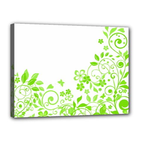 Butterfly Green Flower Floral Leaf Animals Canvas 16  X 12  by Mariart