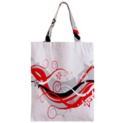 Flower Floral Star Red Wave Zipper Classic Tote Bag by Mariart