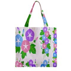 Flower Floral Star Purple Pink Blue Leaf Zipper Grocery Tote Bag by Mariart