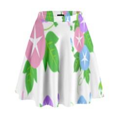 Flower Floral Star Purple Pink Blue Leaf High Waist Skirt by Mariart