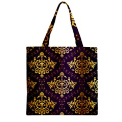 Flower Purplle Gold Zipper Grocery Tote Bag by Mariart