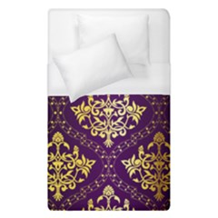 Flower Purplle Gold Duvet Cover (single Size) by Mariart