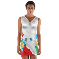 Flower Floral Papper Butterfly Star Sunflower Red Blue Green Leaf Wrap Front Bodycon Dress
