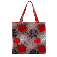 Flower Rose Red Black White Zipper Grocery Tote Bag by Mariart