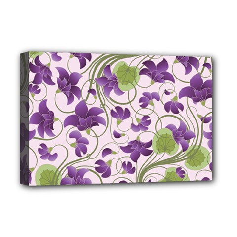 Flower Sakura Star Purple Green Leaf Deluxe Canvas 18  X 12   by Mariart