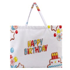 Happy Birthday Zipper Large Tote Bag by Mariart