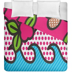 Rose Floral Circle Line Polka Dot Leaf Pink Blue Green Duvet Cover Double Side (king Size) by Mariart