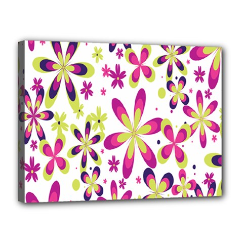 Star Flower Purple Pink Canvas 16  X 12  by Mariart