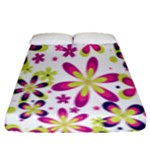 Star Flower Purple Pink Fitted Sheet (King Size)