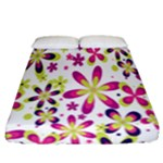 Star Flower Purple Pink Fitted Sheet (California King Size)