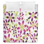 Star Flower Purple Pink Duvet Cover Double Side (Queen Size)