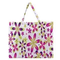 Star Flower Purple Pink Zipper Large Tote Bag by Mariart