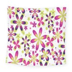 Star Flower Purple Pink Square Tapestry (Large)
