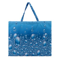 Water Bubble Blue Foam Zipper Large Tote Bag by Mariart