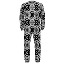 Geometric Black And White Onepiece Jumpsuit (men)  by linceazul