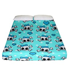Cute Skull Fitted Sheet (queen Size) by Valentinaart