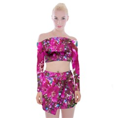 Pretty In Fuchsia 2 Off Shoulder Top With Skirt Set by dawnsiegler