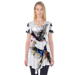Colorful Love Birds Illustration With Splashes Of Paint Short Sleeve Tunic  by TastefulDesigns