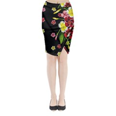 Floral Rhapsody Pt 2 Midi Wrap Pencil Skirt by dawnsiegler