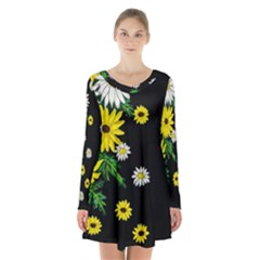 Floral Rhapsody Pt 3 Long Sleeve Velvet V Neck Dress by dawnsiegler