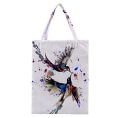 Colorful Love Birds Illustration With Splashes Of Paint Classic Tote Bag by TastefulDesigns