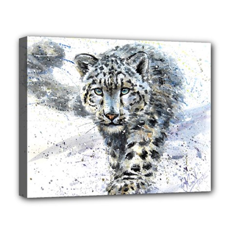 Snow Leopard 1 Deluxe Canvas 20  X 16   by kostart