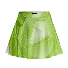 Cabbage Leaf Vegetable Green Mini Flare Skirt by Mariart
